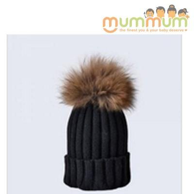 Amelia Jane London Black Hat with Brown Fur Pom Pom Kids Single Pom Pom