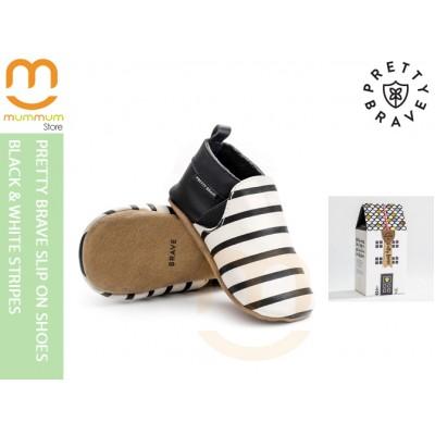 Pretty Brave Slip On Shoes Black White Strip