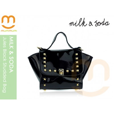Milk & Soda Jules Studded Patent Leather Bag Black