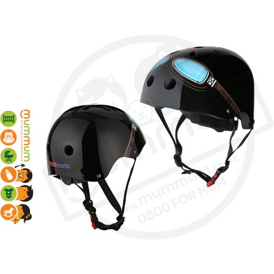 Kiddimoto Adjustable Black Goggle Helmet