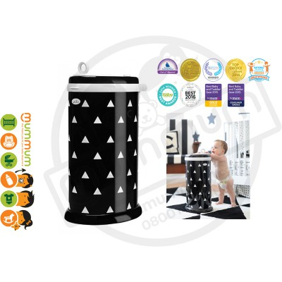 Ubbi Powedered Steel Diaper Pail - Black With White Triangles, Limited Edition