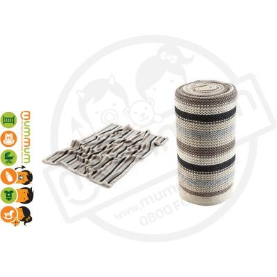 Stokke Knitted Blanket - Black / Grey / Brown / Cream Stripe