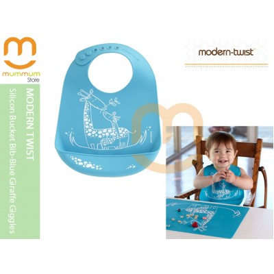 Modern Twist Silicon Bucket Bib Blue Giraffe