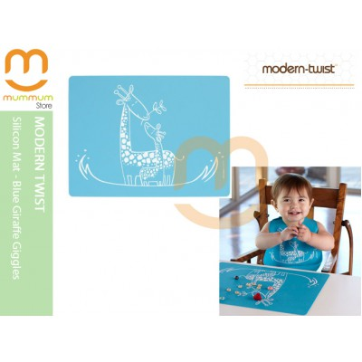 Modern Twist Silicon Meal Mat Giraffe Giggles Blue