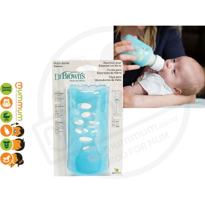 Dr.Brown 8oz 250ml Silicone Bottle Sleeve Blue For Glass Bottle