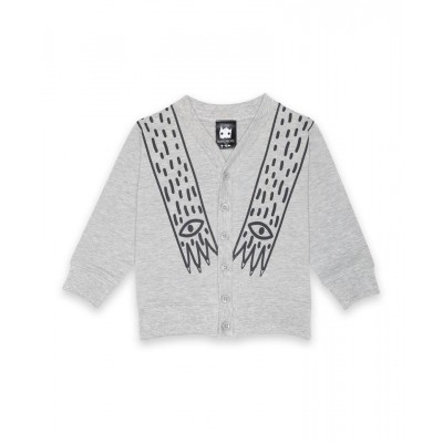 Band of Boys V Neck Front Button Cardigan - Marl Grey