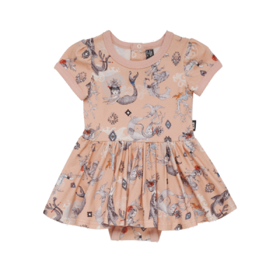 Rock your baby boho maids & dragons-ss sadie waisted dress Pale Pink 12-24M