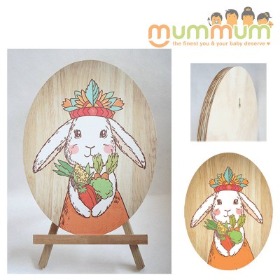 Crystal Ashley NZ Made Ply Wood Wall Art Tribal Bunny Princess