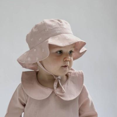 Burrow & Be Dusty Rose Bow Baby Hat Medium