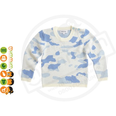 Atelier Child The Camo Sweater Blue Size 5/6Y