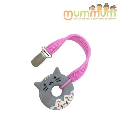 Silli Chews Teether & Strap Pink Cat