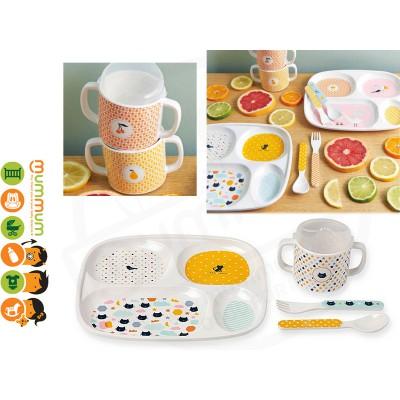 French Design Bandjo Melamine Dinner Set with cup utensil Cat