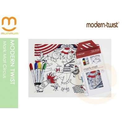 modern twist Art Activity Silicone Mat with 4pack Washable Color Pens Circus