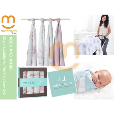 Aden & Anais Muslin 4 Pack Large Wraps - Birds