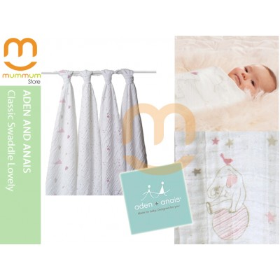 Aden & Anais Muslin 4 Pack Large Wraps - Classic Lovely