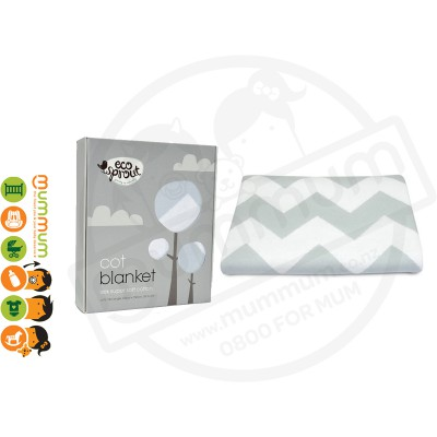 Eco Sprout 100% Knitted Cotton Cot / Single Blanket - Chevron Dove Grey