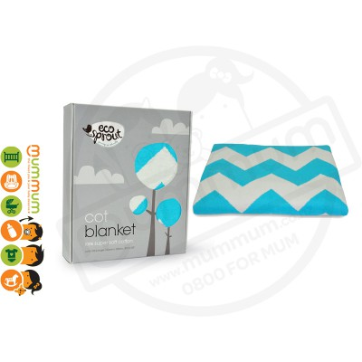 Eco Sprout 100% Knitted Cotton Cot / Single Blanket - Chevron Lagoon