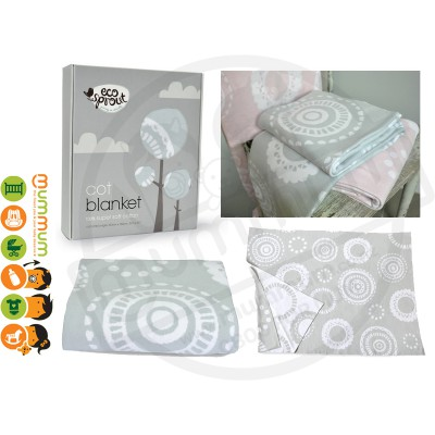 Eco Sprout 100% Knitted Cotton Cot / Single Blanket - Lace Dove Grey