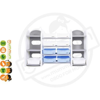 iFam DESIGN Toy Organizer 9 (GREY With all White basket ) L153xD36xH91