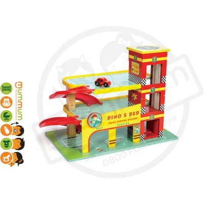 Le Toy Van Dino's Red Garage Quick Stop Service Station Wooden Play Set