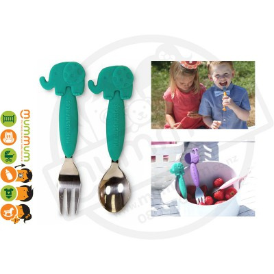 Marcus & Marcus Kid's Spoon And Fork Set Elephant Green