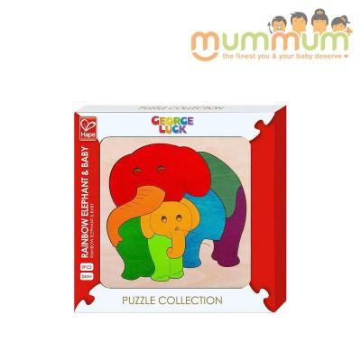 Hape rainbow elephant & baby puzzl