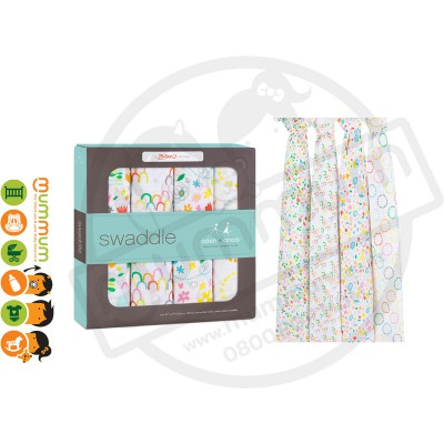 Aden and Anais Muslin Wraps/Swaddles, Zutano Fairground, 4pack