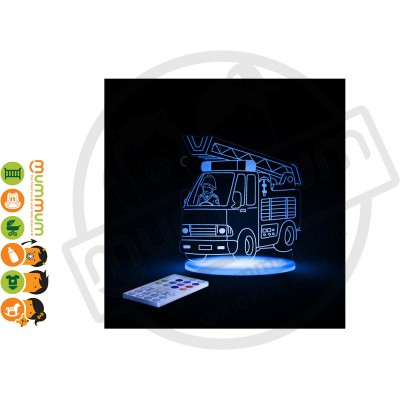 Aloka Night Light Fire Engine Multi Colour With Remote Control
