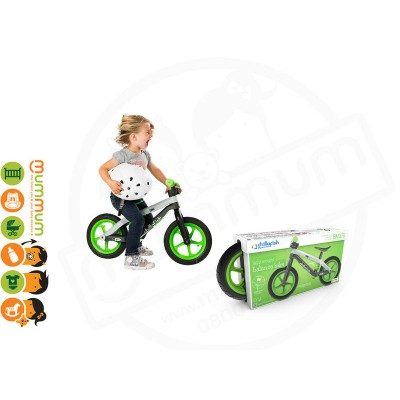 CHILLA FISH BMXie Fibre Glass Balance Bike Man on the Moon Lime 2-5yrs