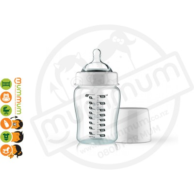Haakaa Wide Neck Glass Bottle w Anti-colic Nipple With 6m+ Teat Fast Flow