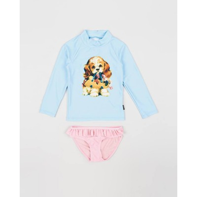 Rock Your Baby Swimming Togs Go Fetch-ls rashie set Blue 2-7Y