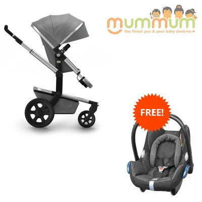 Joolz Day2 Pram Studio Collection Graphite (Incl :Chasis, Bassinet, Seat, Storage basket)
