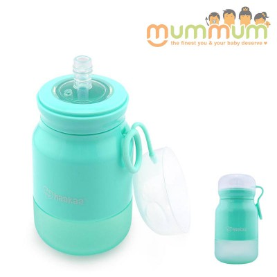Haakaa Silicone Sippy Bottle Green with straw 350ml Soft bottle