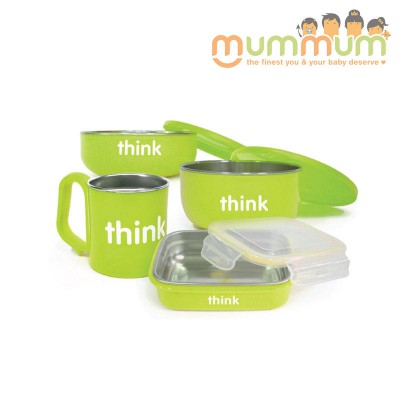 Thinkbaby Set Light Green Bowl Cup Snack Box