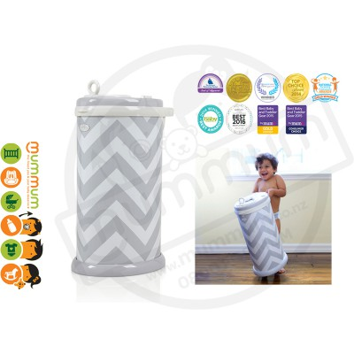 Ubbi Powdered Steel Diaper Pail - Grey Chevron, Limited Edition