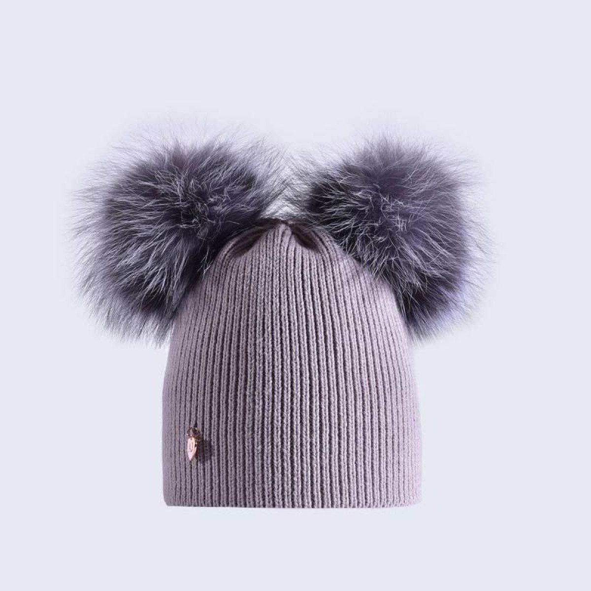cedb4905b4b Amelia Jane London Light Grey Hat with Silver Fur Poms Adult Double Pom Pom