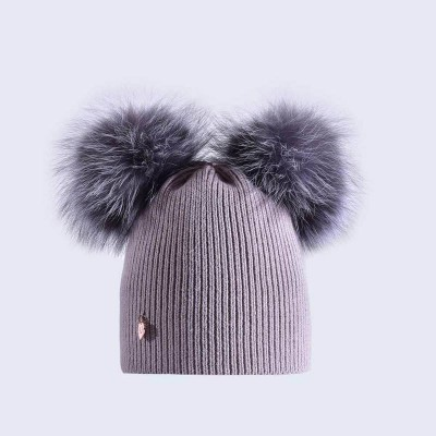 Amelia Jane London Light Grey Hat with Silver Fur Poms Adult Double Pom Pom