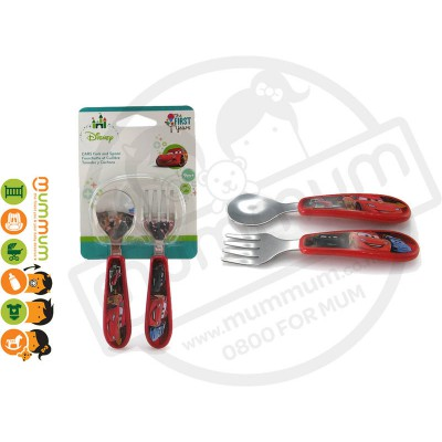 The First Years Cars Easy Grip Fork & Spoon 2 Pack