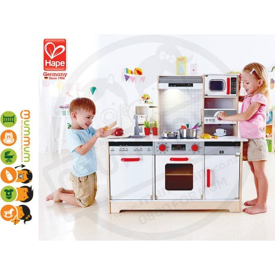 Hape All in One Kithchen Kids Wooden Cooking Toy Microwave Cafe Oven