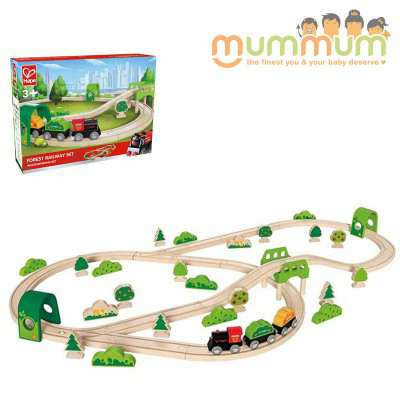 Hape Forest Railway Set 54 Pieces Wooden Set Compatible with Thomas Train Set