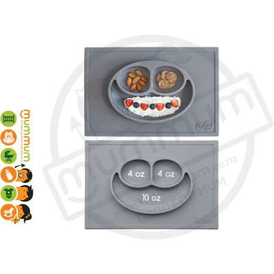 EZPZ Silicone Happy Mat Placemate & Plate in One - Light Grey
