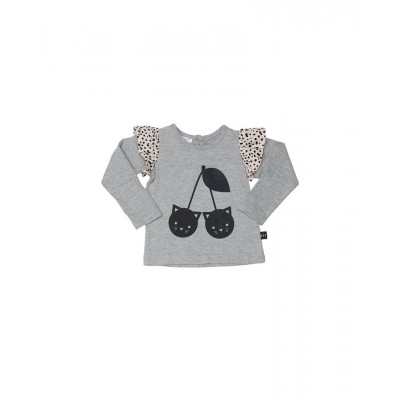 Huxbaby Long Sleeves Top Grey Frill