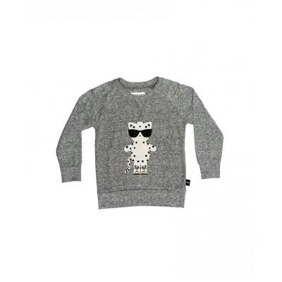 Huxbaby Leopard Sweatshirt Charcoal Slub 2-5y