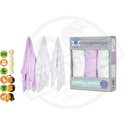 Weegoamigo Bamboo Muslin Wrap Hexagoina 3pk