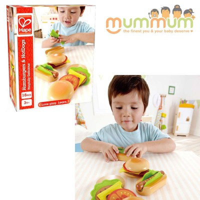 Hape Hamburgers and Hot Dogs Wooden Play Set