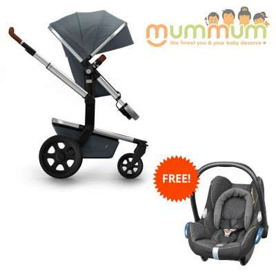 Joolz Day2 Pram Earth Collection Hippo Grey  (Incl:Chassis,Bassinet, Seat, Storge basket) Dutch Made
