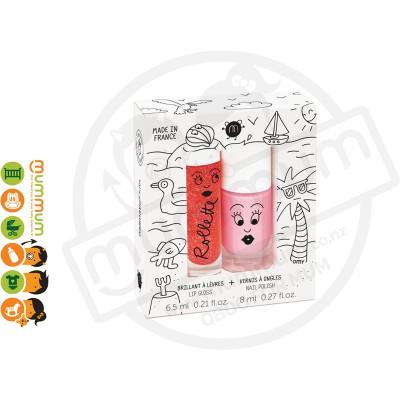 Nailmatic Kids Rollette Strawberry Lip Gloss + Cookie Nail Polish