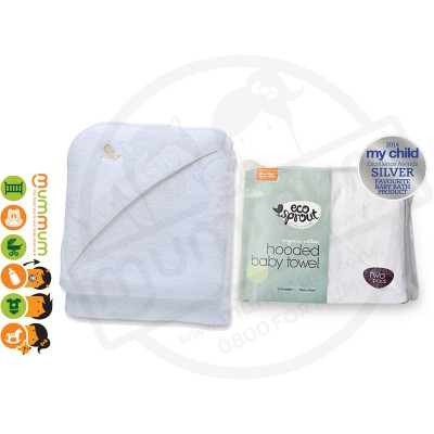 Eco Sprout Certified Organic Cotton Hooded Baby Towel 2pk
