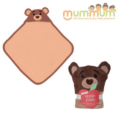 Apple Park Hooded Towel - Cubby/Bear, Organic Cotton