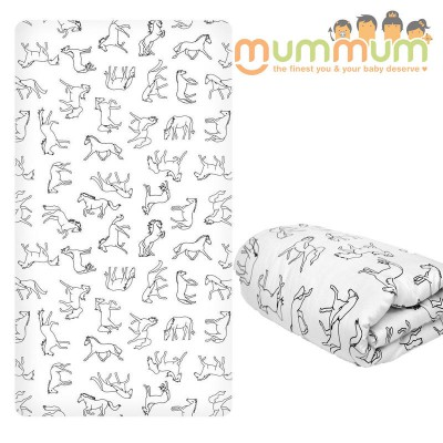 Burrow & Be Fitted Cot Sheet - Horse